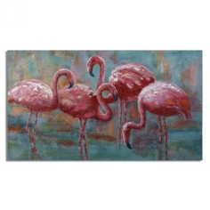 Pintura lienzo Flamencos en tonos rosas y azules