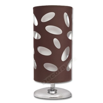 Lámpara sobremesa alargada marrón doble pantalla