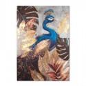 Lienzo pintura Pavo Real en tonos azules y dorados
