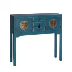 Consola entrada Oriente madera azul cuatro puertas y tres cajones