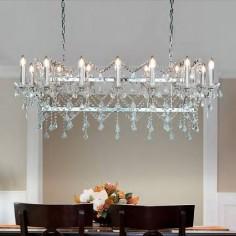 Lámpara cristal Florence cromo y transparente catorce luces