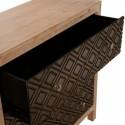 Cómoda tres cajones madera dos tonos tallado rombos