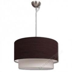 Lámpara colgante grande doble pantalla marrón blanco