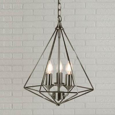 Lámpara colgante Diamond metal plata envejecida con tres luces