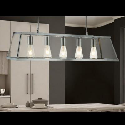 Lámpara para techo Voyager en cromo y cristal con cinco luces