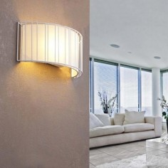 Aplique pared Linda metal blanco pantalla textil blanca