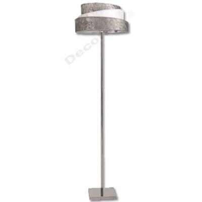 Lámpara de pie acabado cromo pantalla original plata blanco