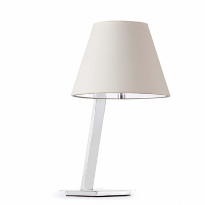 Lámpara de mesa moderna Moma en acero con pantalla blanca