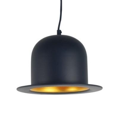 Lámpara techo sombrero Bombín en metal negro y dorado