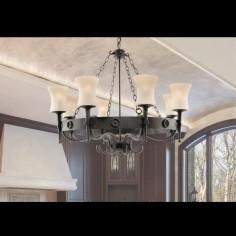 Lámpara de techo rústica Cartwheel metal negro con ocho luces