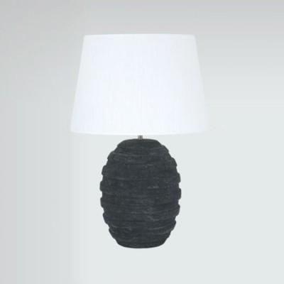 Lámpara de sobremesa Metz en cerámica gris oscuro con pantalla blanca