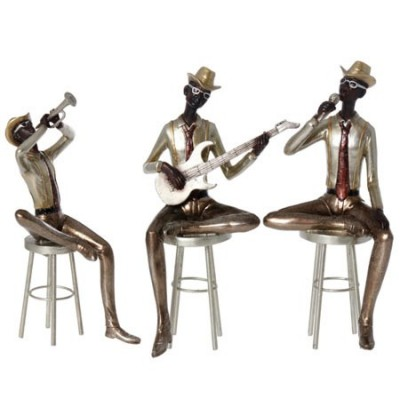 Set tres figuras decorativas Músicos dorado champán en resina