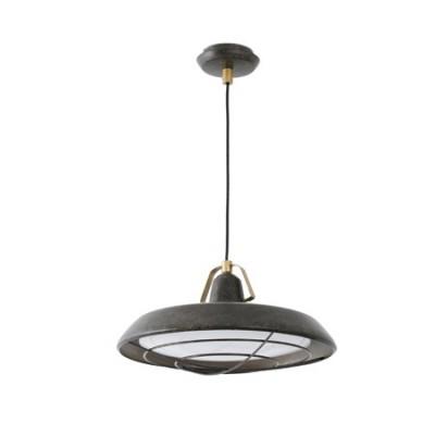 Lámpara colgante vintage LED Plec metal marrón óxido
