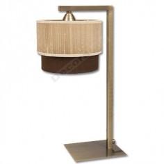 Lámpara sobremesa cuero doble pantalla arena marrón