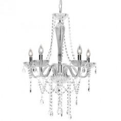 Chandelier clásica cinco luces en cristal transparente y cromo