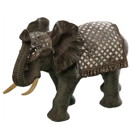 Comprar figura decorativa elefante tnico en resina con mosaico espejos - Espejos etnicos ...