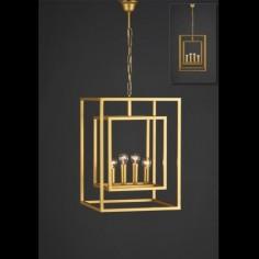Farol colgante Caliope Mediano forja dorada con cuatro luces