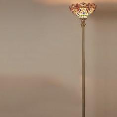 Lámpara de pie tiffany Dragonfly en cuero tulipa cristales colores