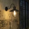Lámpara pared Marina industrial vintage metal negro y difusor en cristal