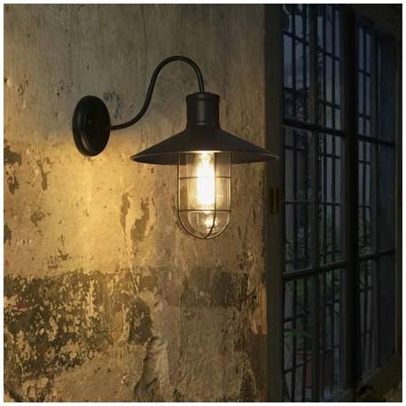 Comprar l mpara pared marina industrial vintage metal negro y difusor en cristal - Lampara industrial vintage ...