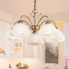 Lámpara Milanese cinco luces metal en cuero y cristal alabastro