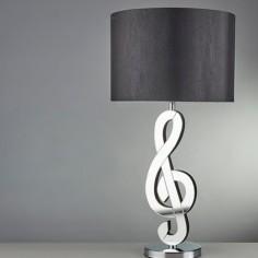 Lámpara mesa Clef clave de sol espejo con pantalla textil mate