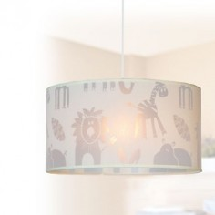 Lámpara colgante infantil Zoo animales pantalla beige textil