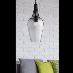 Lámpara colgante Whisk cristal ahumado y metal negro mate