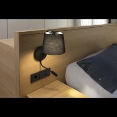 Lámpara cabecero Berni negra metal y textil con lector LED