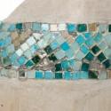 Jirafas decoración madera y mosaico azul set de tres figuras