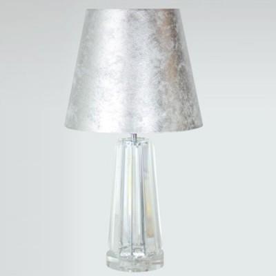 Lámpara sobremesa Lucca en cristal transparente y pan de plata