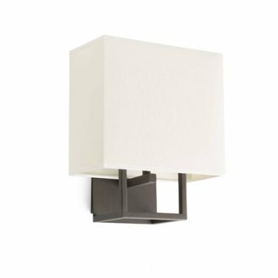Lámpara de pared Vesper blanca en metal con pantalla textil cuadrada