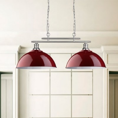 Lámpara Fusion lineal dos luces en rojo gloss y plata satinada