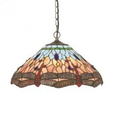 Lámpara techo colgante Tiffany Dragonfly tulipa cristales colores libélulas
