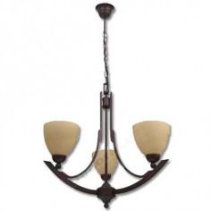 Lámpara clásica tres brazos curvados acabado marrón