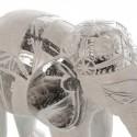 Figura decorativa elefante madera blanco decapé y plata