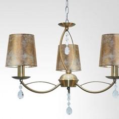Lámpara clásica Larnaka cuero tres luces pantallas pan de oro