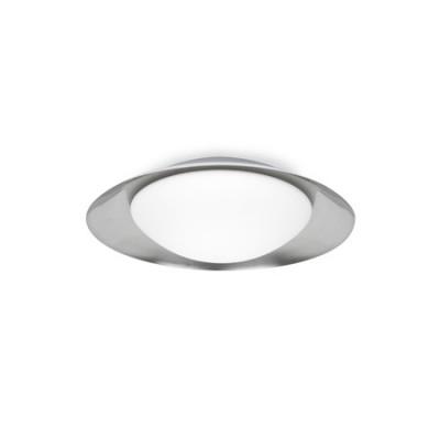 Plafón techo LED Side metal níquel y blanco con difusor cristal opal