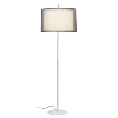 Lámpara pie salón Saba metal níquel con pantalla textil