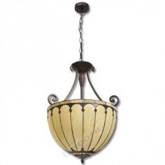 Lámpara tiffany clasica cristal beige 3 E27