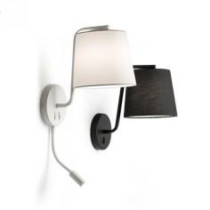Lámpara pared Berni negro metal con pantalla textil negra