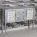 Recibidor madera plata blanco dos puertas y cuatro cajones tallados