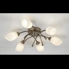 Lámpara semiplafón Opera metal cuero seis luces cristal opal