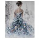 Pintura dorsal chica en lienzo tonos azules y morados