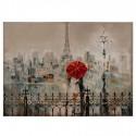 Cuadro decorativo lienzo paisaje París paraguas rojo tonos crema