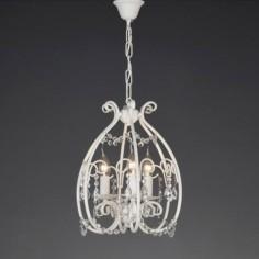 Lámpara colgante clásica Eco metal blanco tres luces abalorios cristal