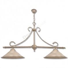Lámpara rústica 2 luces con tonos crema oro estilo billar