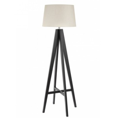 Pie salón Tripod madera tono oscuro pantalla textil color crema