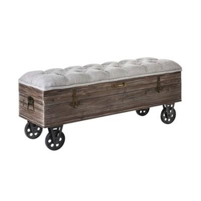 Banqueta Roble baúl madera asiento acolchado con ruedas