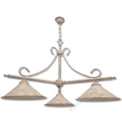 Lámpara rustica estilo billar con tonos crema oro 3 luces